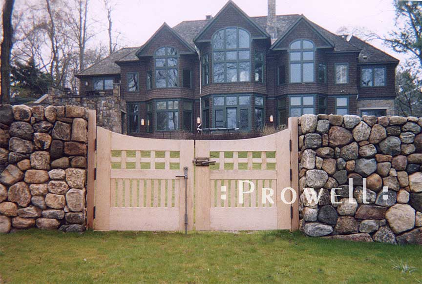 site photograph showing double wooden gates #96-2 in Stamford, Connecticut #96-2 in samford, Connecticut. prowell