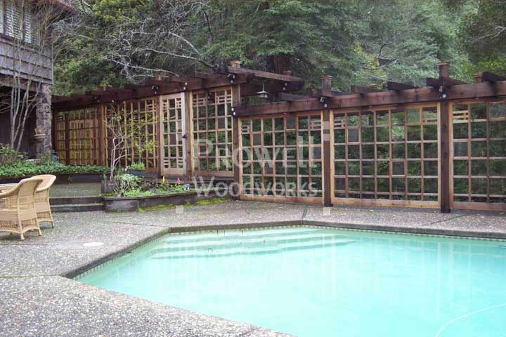 site photograph showing the corridor of fence #19 and the pool gate #97 in Marin County, CA