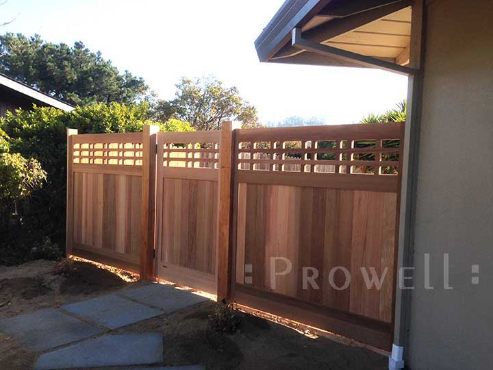 Showing the other side of the house with identical gate design #98 and fence panels in marin county, california