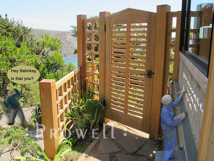 comical site photograph showing prowell and the outdoor wood gate #99-1