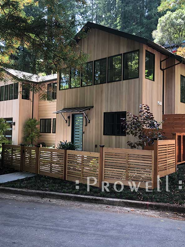 Showing the residence and outdoor wood gate #99-3 in marin County, California