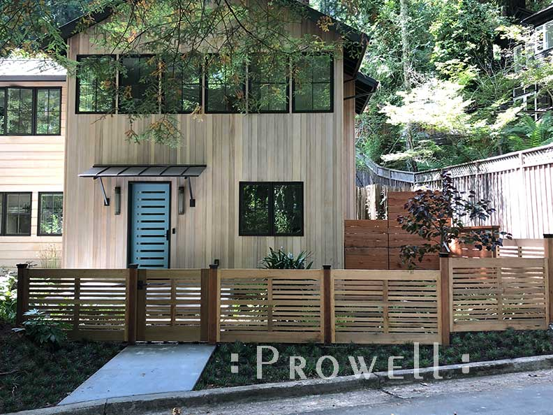 Site photo showing the outdoor wood gate #99-3 with matching fence in Mill Valley, California