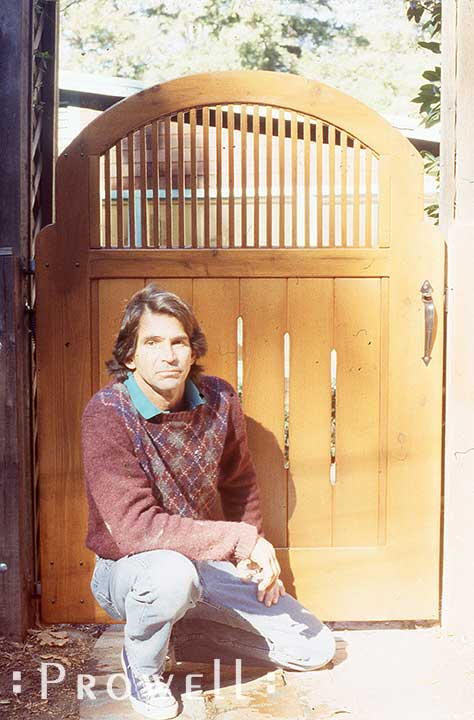 charles prowell with wood gates in 1988
