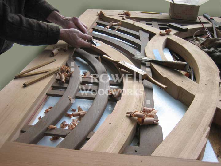 shop photograph showing woodworking joints for the abstract gate design #200