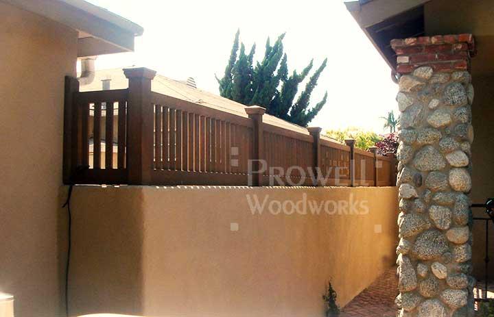 Custom wood wall-top fence Panels in California