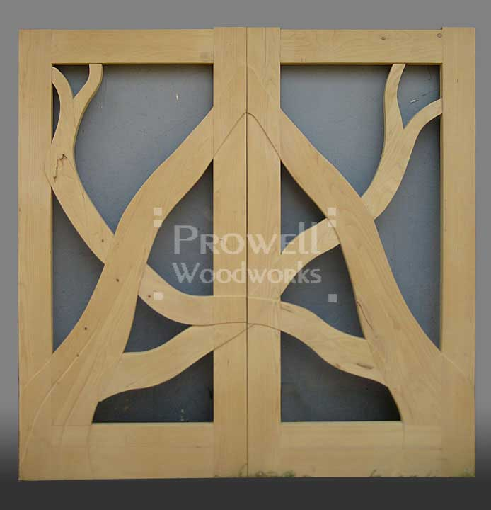 shop ohoto showing the early stages of building the wooden gates 204