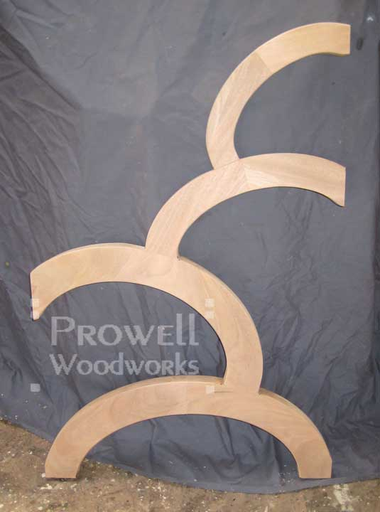 Shop photo showing the completed ovals for the artistic wood gate 203