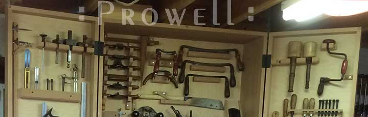 image showing a collection of woodworking spokeshaves. prowell