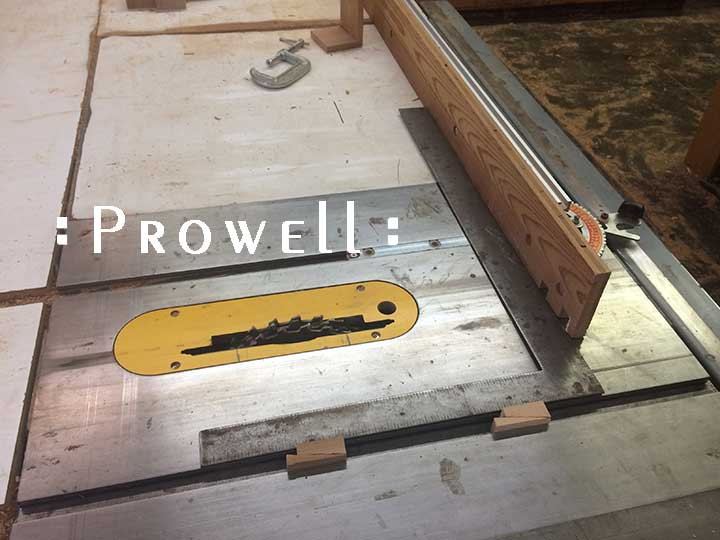 shop photo showing how to align the table saw miter gauge when building a wood gate
