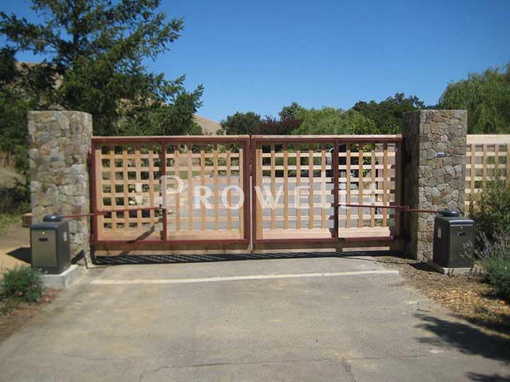 wood driveway gates with steel frame, prowell