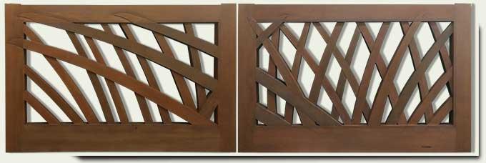 Abstract Custom Wood Driveway Gate #220