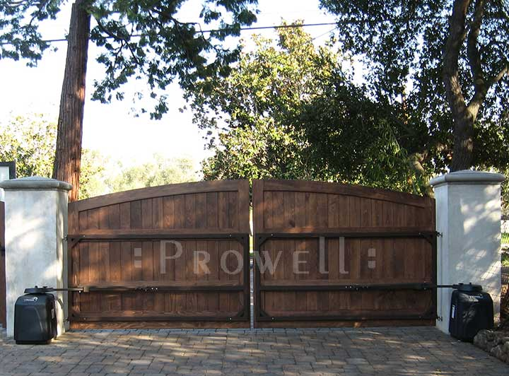 Arched Wood Driveway Gates with Steel Frames, Prowell