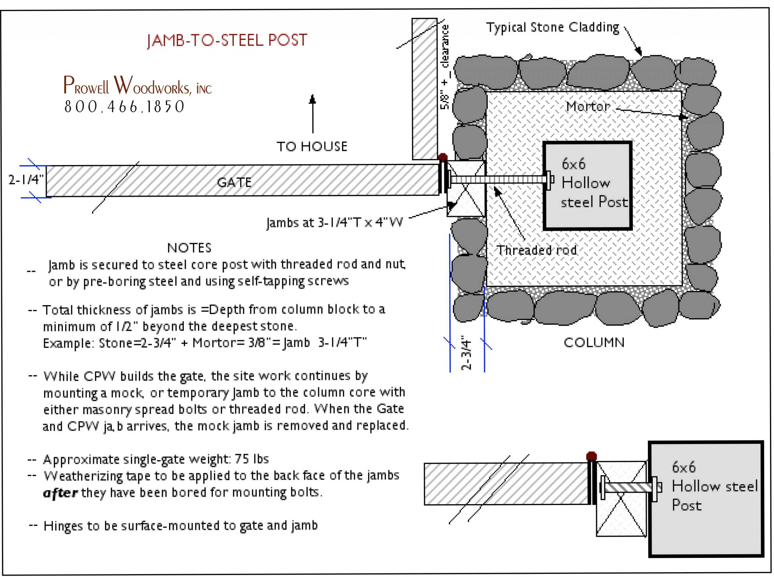 gate jamb to masonry column PDF spec