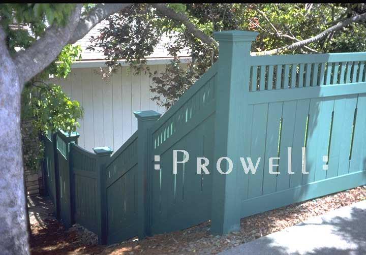 custom wood fence #1-13 in Marin on a sloped grade. Prowell woodworks.