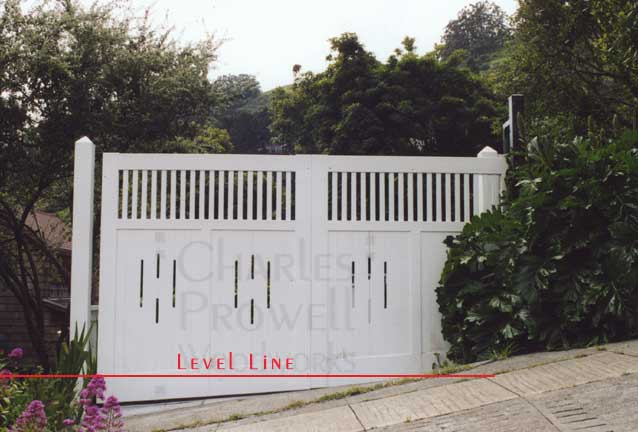 driveway gates #2 on a sloping grade in sausalito, ca