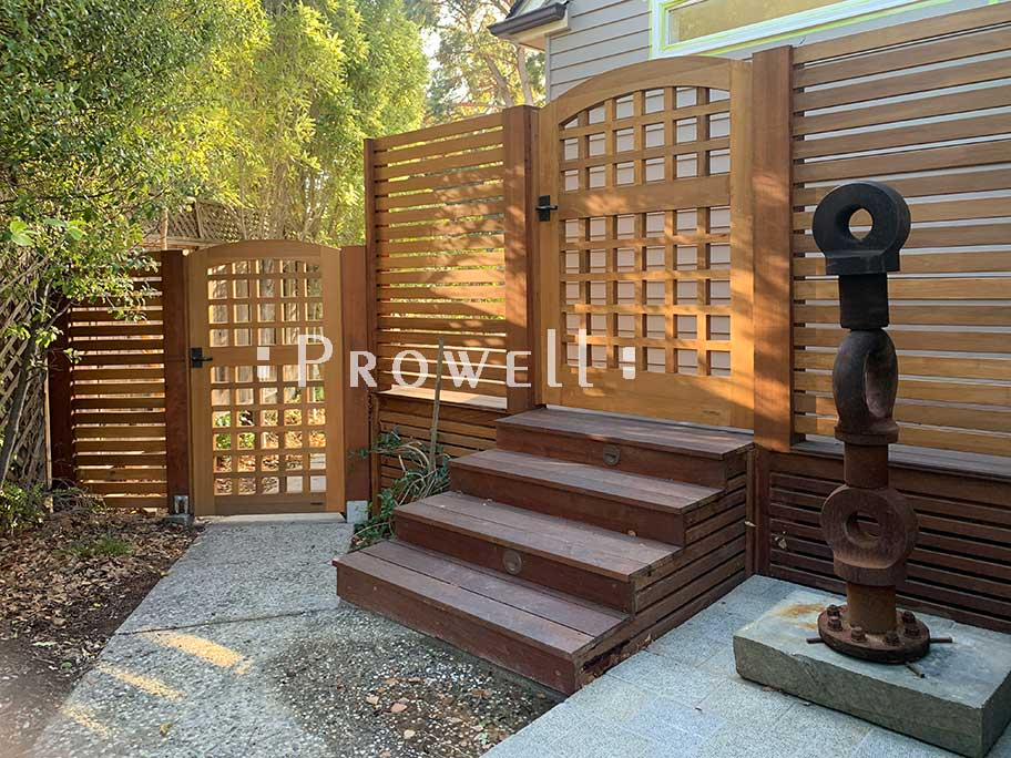 on site photo showing two outdoor wood gates #27 in Santa Cruz, california