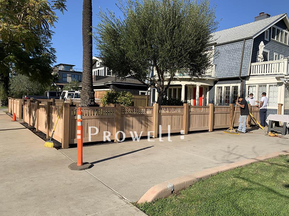 Installing custom wood fence #1 in Venice, CA