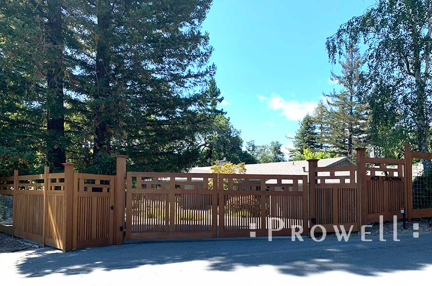 on-site photograph showing the fence 315, driveway gates #11, and garden gate #71 in marin county, california
